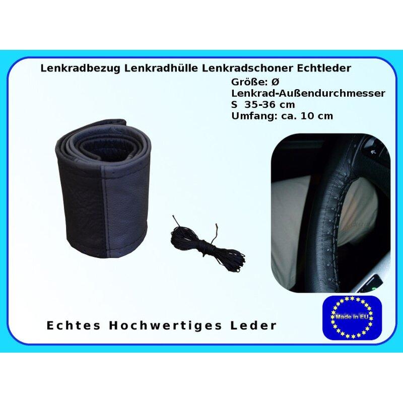 Lenkradschoner Lenkradbezug Lenkradhülle echt Leder Größe Ø 35-36 cm schwarz
